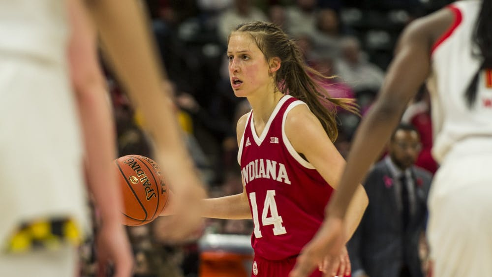 Redshirt junior Ali Patberg looks for an open teammate March 7 at Bankers Life Fieldhouse in Indianapolis. Patberg scored a team-high 16 points in IU's 66-51 loss to Maryland in the semifinals of the Big Ten Tournament.