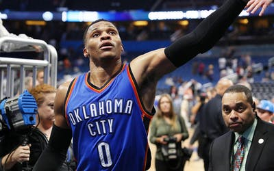 The Oklahoma City Thunder's Russell Westbrook reaches out to fans after a 114-106 win in overtime against the Orlando Magic at the Amway Center in Orlando, Fla., on Wednesday, March 29, 2017. (Stephen M. Dowell/Orlando Sentinel/TNS)