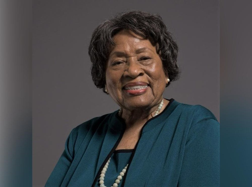 <p>Dr. Joycelyn Elders, former U.S. Surgeon General and presently a professor at the University of Arkansas, smiles for a portrait. Dr. Elders was presented Thursday with the 2020 Ryan White Distinguished Leadership Award by the IU School of Public Health and the Rural Center for AIDS/STD Prevention.</p>