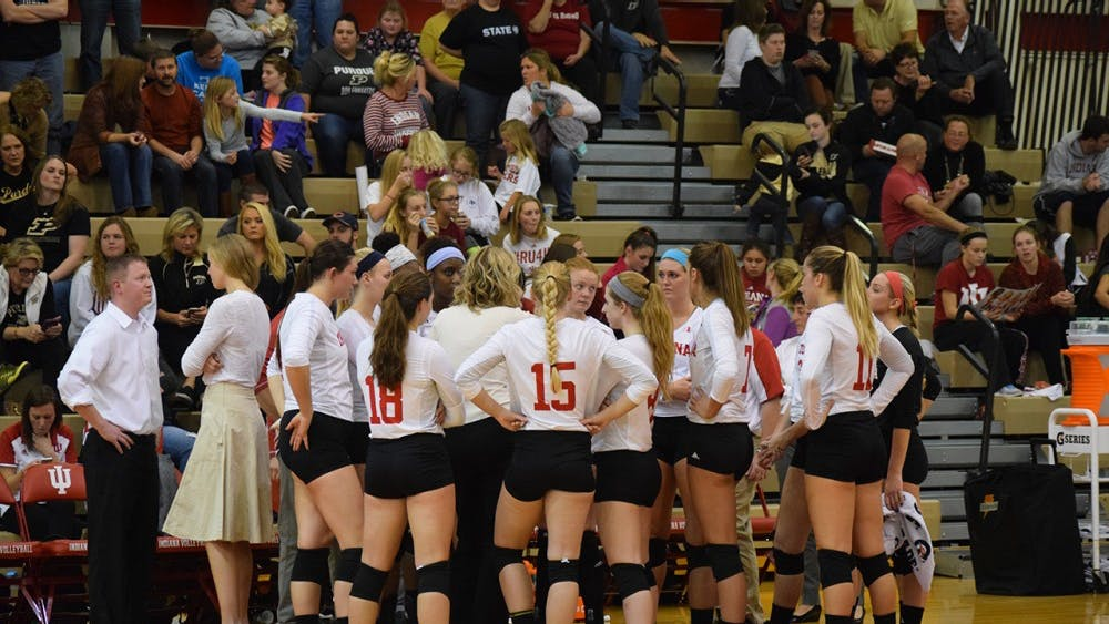 IU bench during a timeout against Purdue, Wednesday night. Purdue defeated IU 3-2.