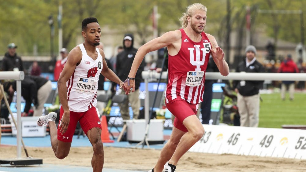 IU sophomore Cooper Williams sprints down the final straightaway in the 800-meter run at the Big Ten Championships May 12 in Iowa City, Iowa. Williams won the race in 1:48.69.