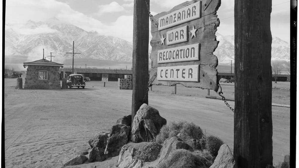 """This is the entrance to Manzanar Relocation Center in California in 1943, where 110,000 Japanese Americans were detained. The Monroe County Public Library screened four short films about Japanese internment during World War II on Saturday to preface its upcoming """"Power of Words"""" event."""