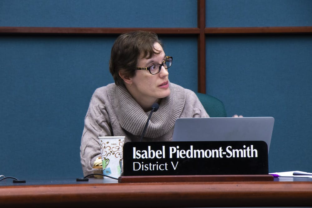 <p>Bloomington city councilorIsabel Piedmont-Smith speaks during a city council meeting Dec. 4 at the Showers Building. At the council&#x27;s Jan. 8 meeting, council members discussed building permits and the Bloomington animal shelter.</p>