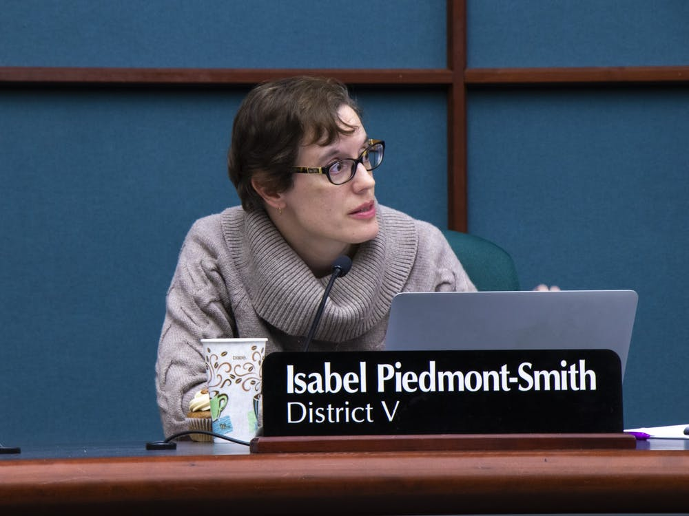 Bloomington city councilorIsabel Piedmont-Smith speaks during a city council meeting Dec. 4 at the Showers Building. At the council's Jan. 8 meeting, council members discussed building permits and the Bloomington animal shelter.