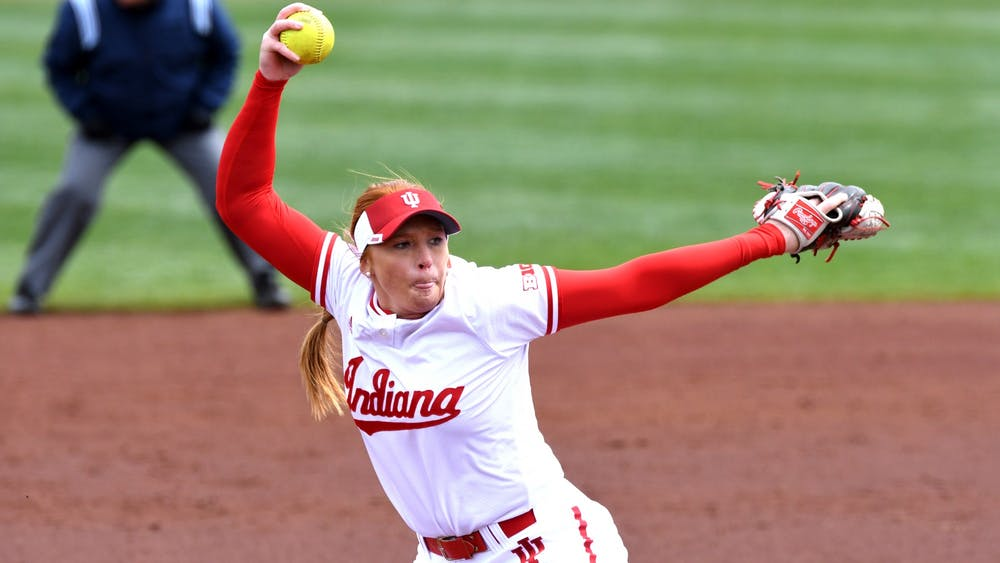 Then-sophomore pitcher Emily Goodin pitches against Nebraska in 2018 at Andy Mohr Field. Goodin will return for another season after the NCAA granted spring sports athletes another year of eligibility.