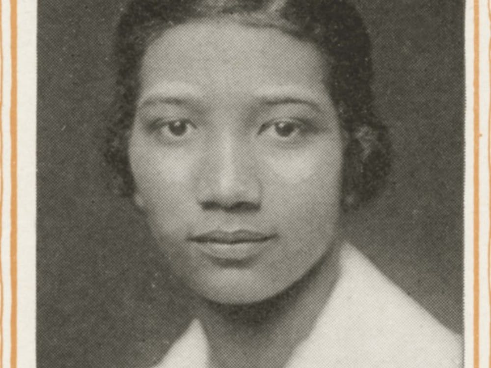 A photograph ofFrances Marshall, the first black woman to graduate from IU, taken frompage 92 of the 1919 Arbutus yearbook.