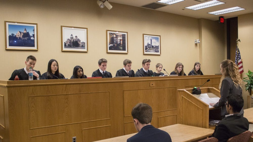 Emma Coates, the presidential candidate for Reform IUSA, testifies in front of the IUSA Supreme Court on Monday in the Maurer School of Law.