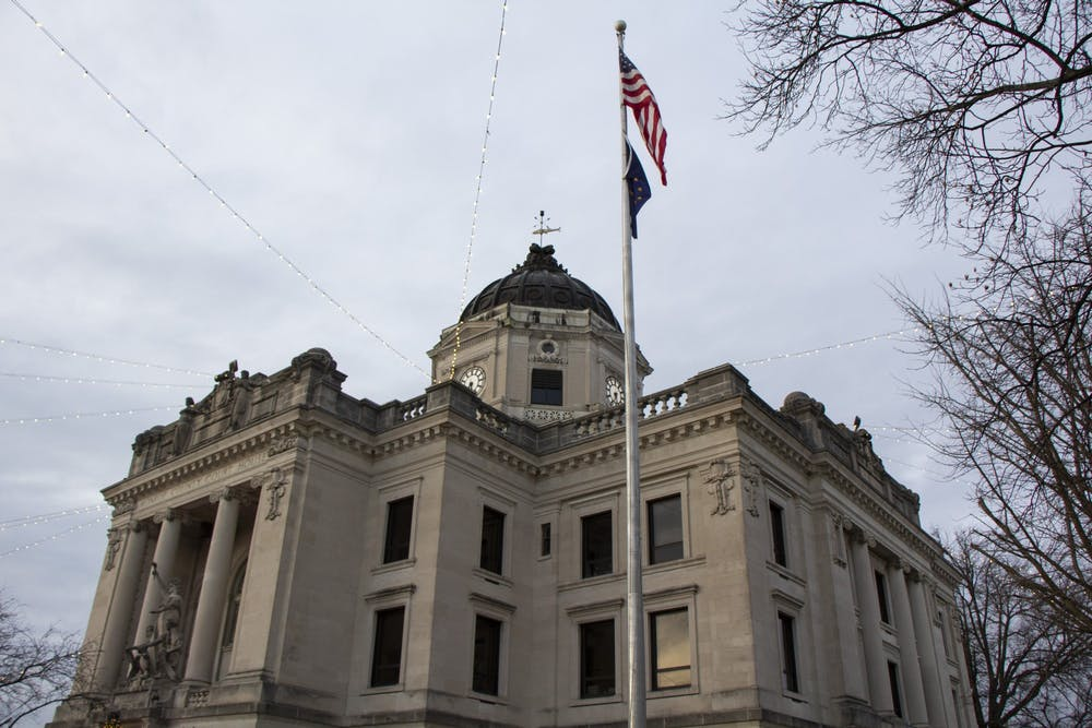<p>The Monroe County Courthouse bell rings 108 times to honor the deaths of Bloomington residents due to COVID-19. Cities and towns around the U.S. participated in the COVID-19 National Day of Remembrance on Tuesday. </p>