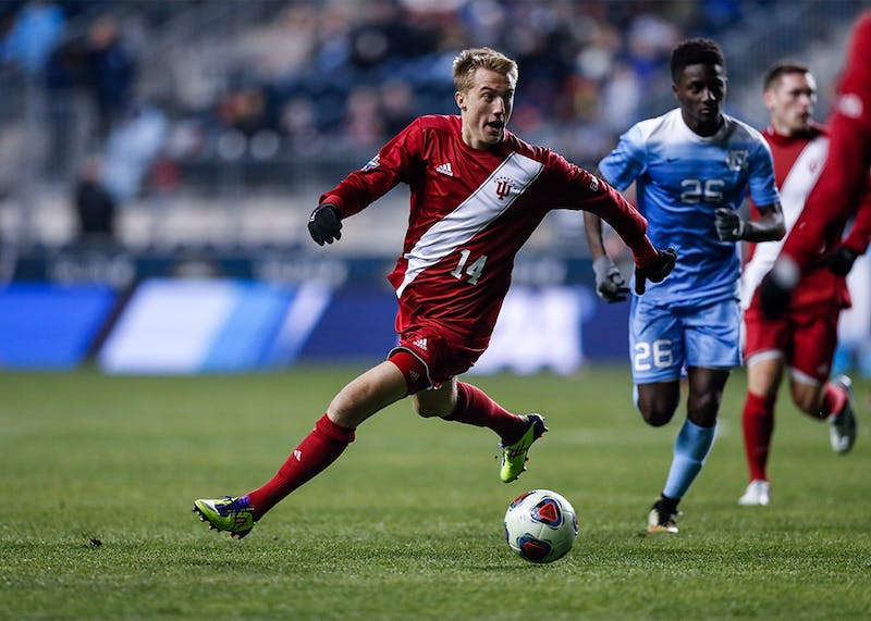 Freshman midfielder Griffin Dorsey looks to pass the ball to a teammate during the second half of the NCAA semifinal against North Carolina on Dec. 8 at Talen Energy Stadium in Philadelphia. Dorsey, Trey Muse and Justin Rennicks were named to the United States Under-20 National Team Training Camp Roster.