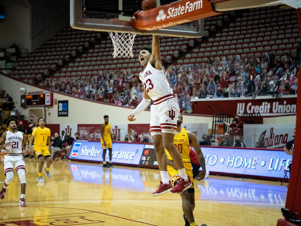 Sophomore forward Trayce Jackson-Davis turns a steal into a dunk in the second half Jan. 4 at Simon Skjodt Assembly Hall. Jackson-Davis finished the game with 22 points and 15 rebounds.