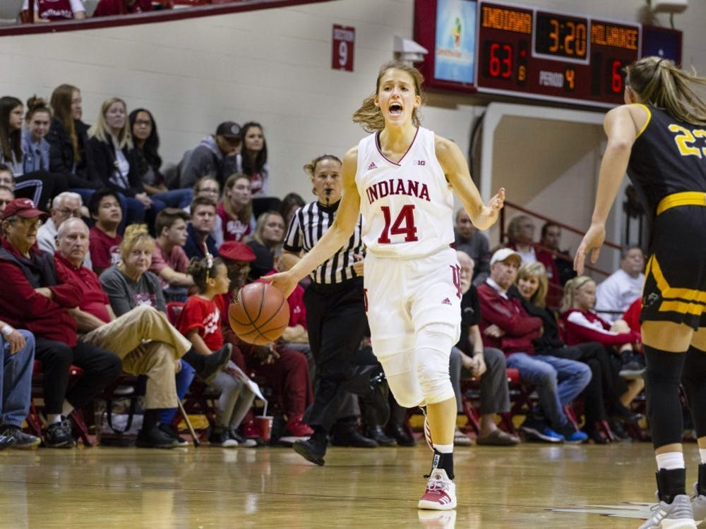 Then-junior Ali Patberg dribbles the ball down the court during a game against Milwaukee on Nov. 7, 2018 in Simon Skjodt Assembly Hall. Patberg finished with with 23 points and 7 assists in the No. 17 Hoosiers' 85-72 win over the Iowa Hawkeyes.