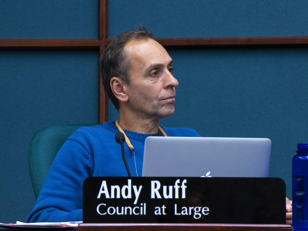 Former Bloomington city council member Andy Ruff listens to public comment Oct. 23, 2019, at City Hall.