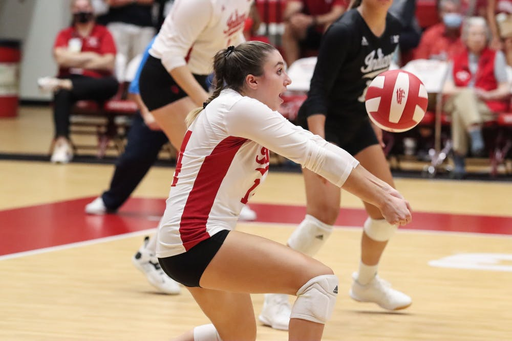 <p>Junior defensive specialist Haley Armstrong digs the ball Sept. 17, 2021, in Wilkinson Hall. Indiana volleyball lost 3-1 to Penn State on Saturday.</p>