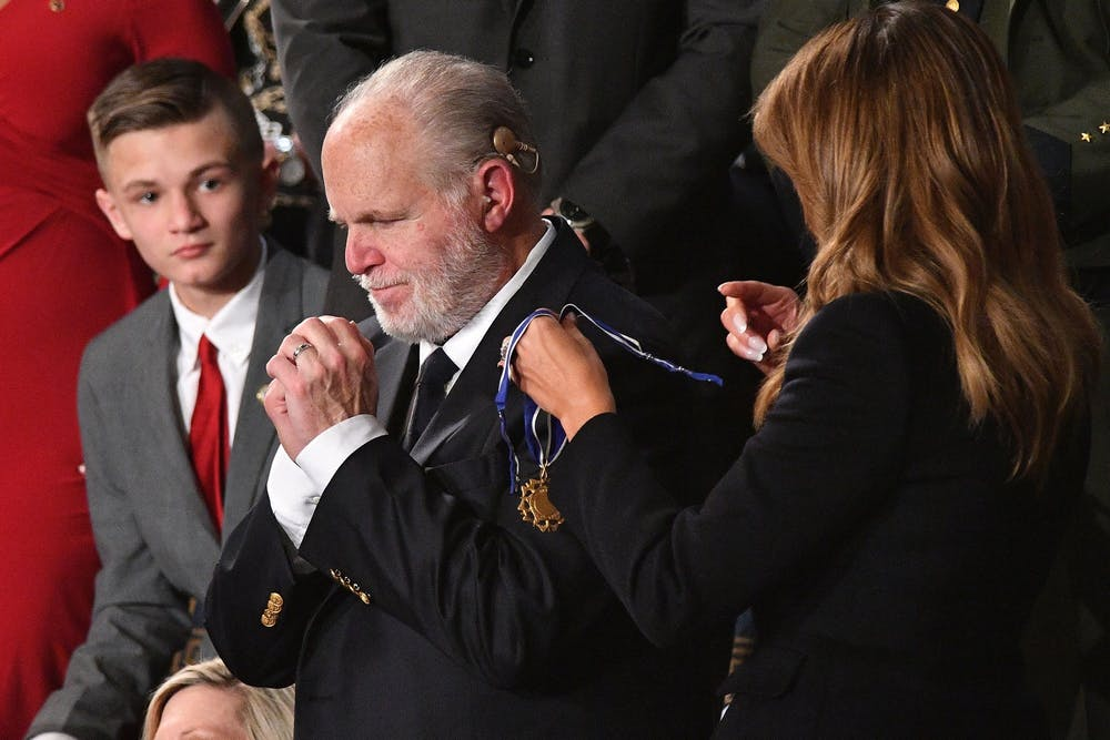 <p>Then-First Lady Melania Trump delivers the Medal of Freedom to radio personality Rush Limbaugh on Feb. 4, 2020, at the U.S. Capitol in Washington. Limbaugh, 70, died Wednesday. </p>