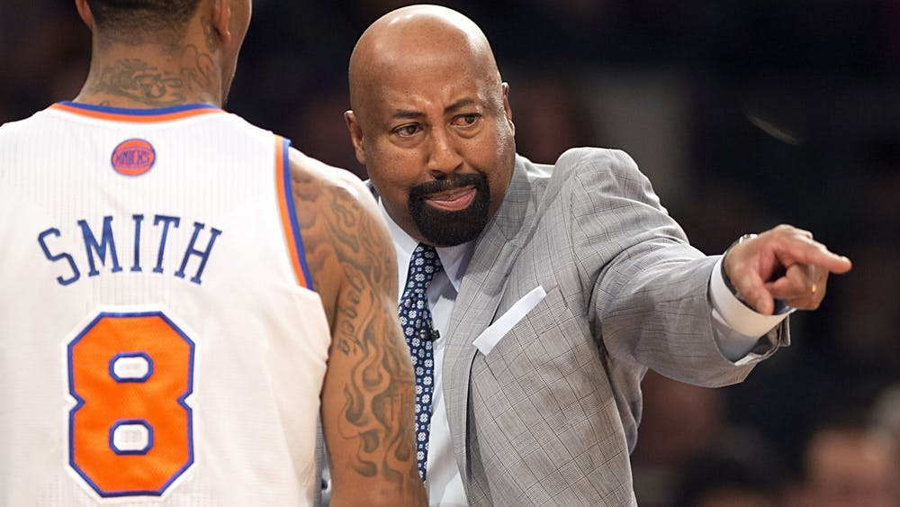 Then-New York Knicks head coach Mike Woodson yells at J.R. Smith during the NBA Eastern Conference playoffs against the Indiana Pacers on May 5, 2013, in New York City. Woodson detailed his plans for IU men's basketball April 9.