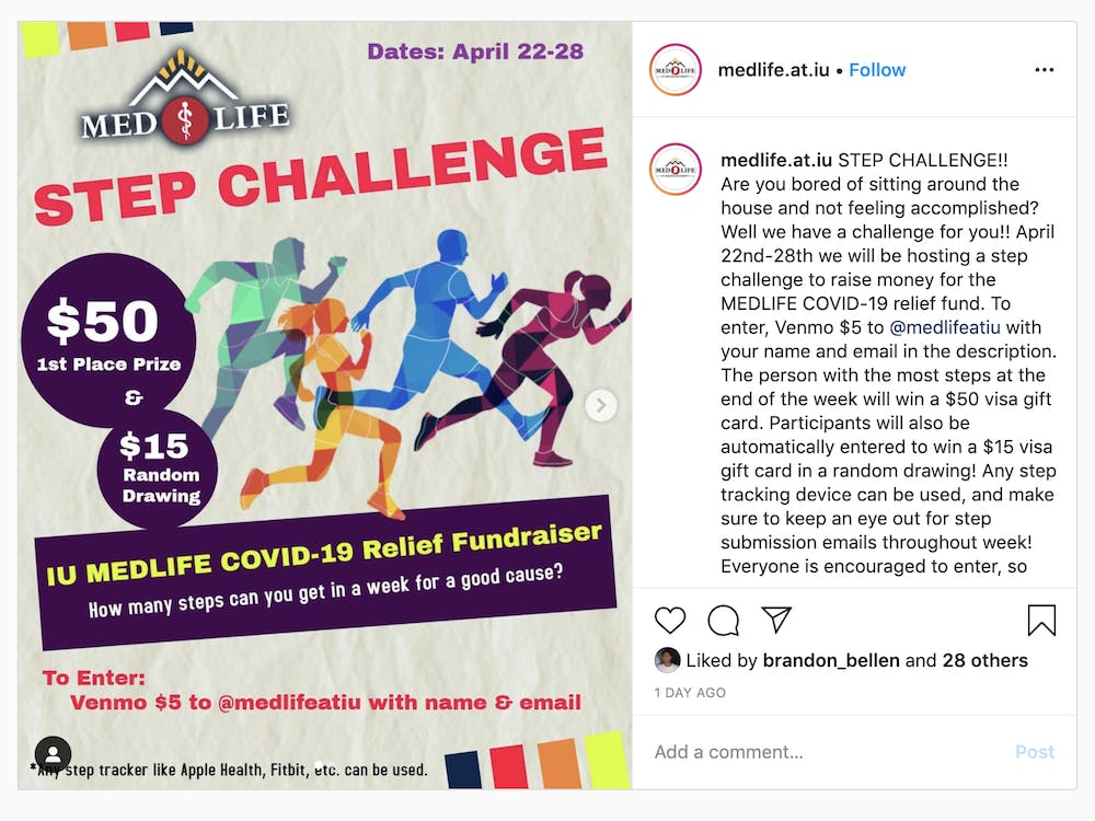 The Medlife at IU Instagram page displays a poster for a step challenge. Medlife is raising money for a COVID-19 relief fund through a series of online events.