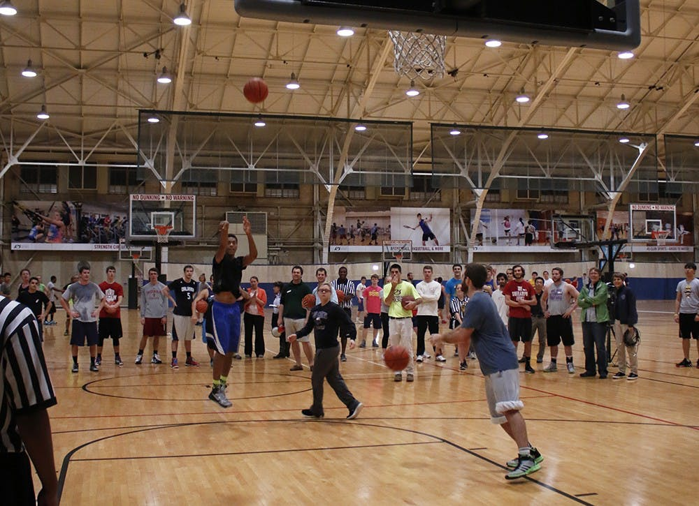 Students attempt to break the world record for the largest game of knockout Tuesday at the Wildermuth Intramural Center.