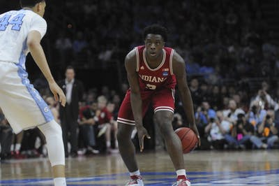 Freshman forward OG Anunoby looks for an opening in the North Carolina defense during the Sweet 16 game on Friday at the Wells Fargo Center. Indiana lost 101-86.