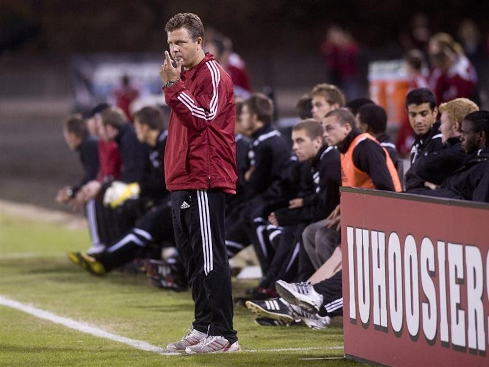 IU coach Todd Yeagley signals to his substitutes during IU's 2-1 win against Michigan on Saturday at Bill Armstrong Stadium.