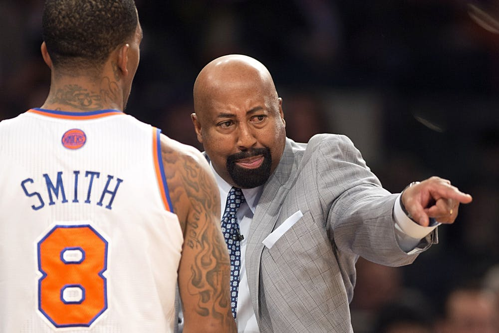 <p>Then-New York Knicks head coach Mike Woodson yells at J.R. Smith during  the NBA Eastern Conference playoffs against the Indiana Pacers on May 5, 2013, at Madison Square Garden in New York City. Woodson was hired on Sunday as the head coach for IU men&#x27;s basketball.</p>