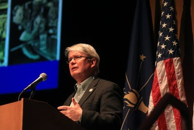 "Bloomington Mayor John Hamilton speaks during the State of the City Address on Feb. 21 in the Buskirk-Chumley Theater. The theme of the speech was, ""It Starts Here,"" in reference to the amount of beneficial changes Bloomington has gone through and is working toward, according to Hamilton."