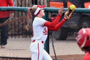 Then-junior Sarah Galovich catches a ball against Nebraska April 8 at Andy Mohr Field. The IU softball team announced their fall schedule Monday.