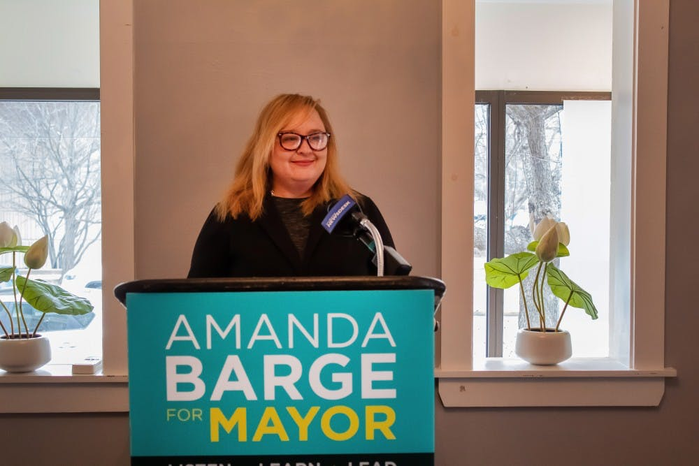 Amanda Barge holds a press conference Feb. 22