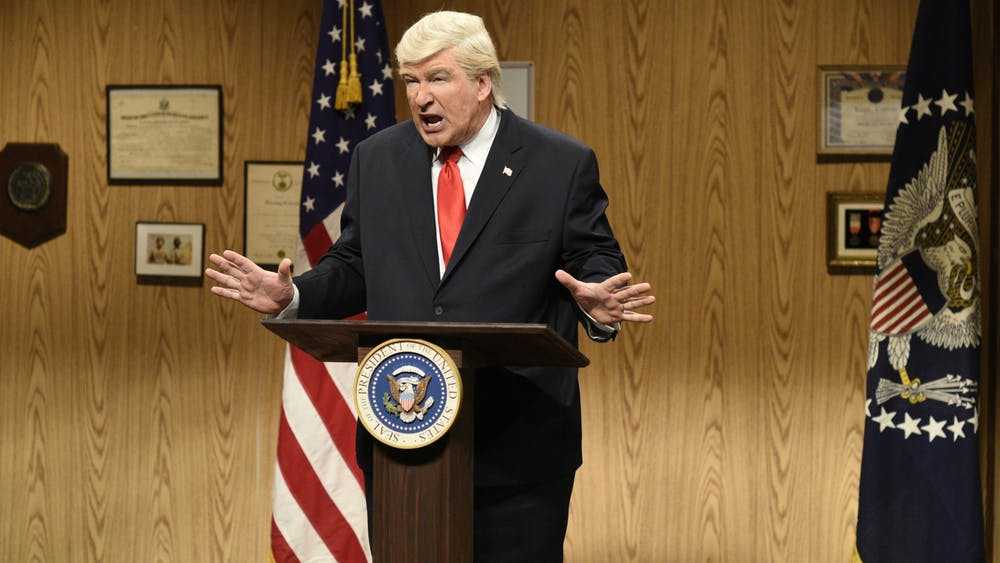 "Alec Baldwin performs his President Donald Trump impersonation April 8, 2017, on ""Saturday Night Live."" Political sketches on SNL might be influencing presidential elections."