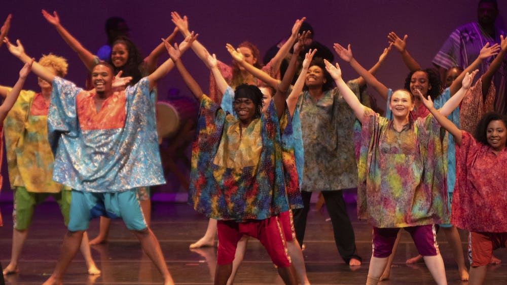 Members of the African American Dance Company pose at the end of a performance Nov. 9 at the IU Auditorium. The dance was part of Potpourri of the Arts and was choreographed by Stafford C. Berry Jr.