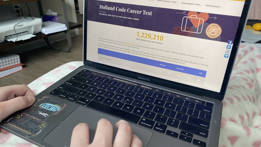 A student starts to take the Truity career test Sunday. IU career coach Maria Cambone urges student to err on the side of caution when taking career quizzes.