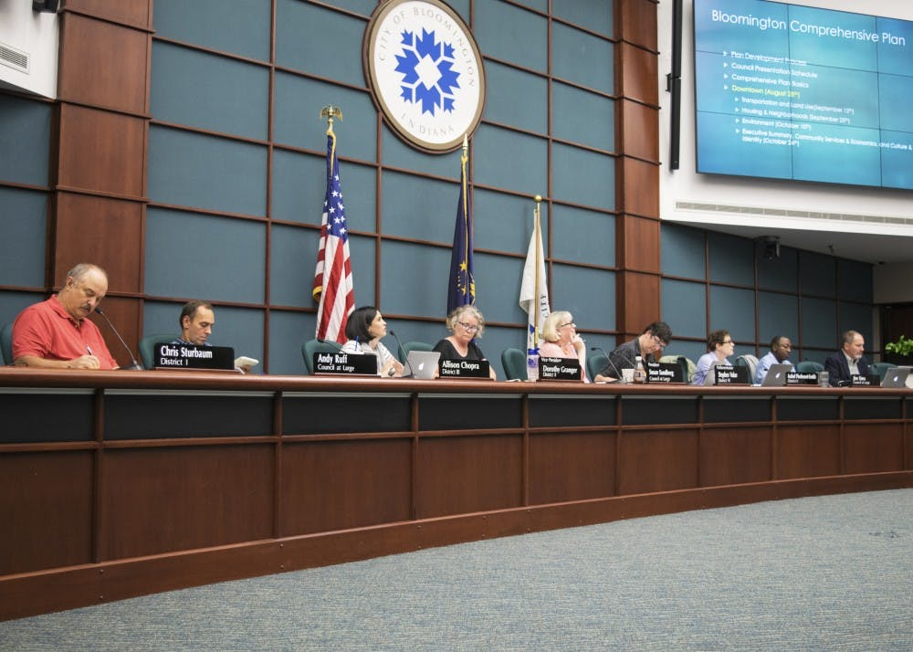 """<p>Bloomington City Council members listen to a presentation at a meeting this year to review the the fourth chapter of the Comprehensive Plan, """"Downtown."""" On Monday night the council debated the fifth chapter, """"Housing &amp; Neighborhoods.""""</p>"""