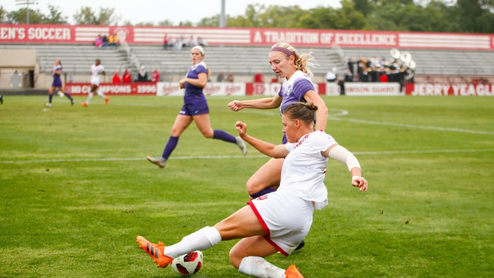 Senior Annelie Leitner slides to reach the ball and keep it inbounds Sept. 9 at Bill Armstrong Stadium. IU ended the game tied against Kansas State, 0-0.