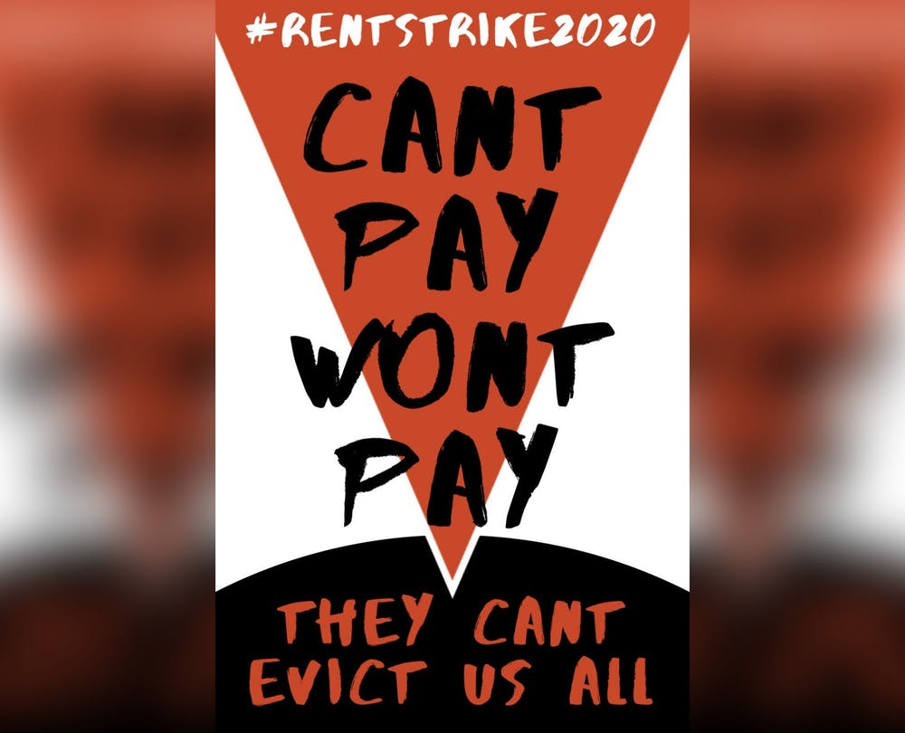 <p>A sign for a rent strike in Bloomington.</p>
