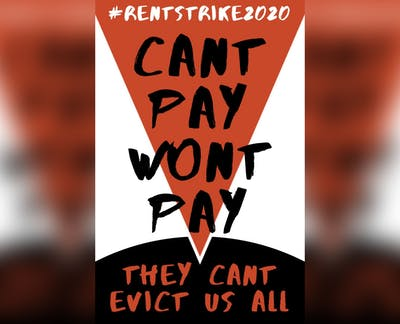 A sign for a rent strike in Bloomington.