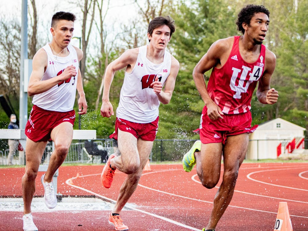 Sophomore distance runner Keelan Grant runs the 3,000-meter steeplechase April 16 at the Robert C. Haugh Complex. The IU track and field team competed in the Big Ten Indiana Invite No. 4/Billy Hayes Invite on Friday and Saturday.