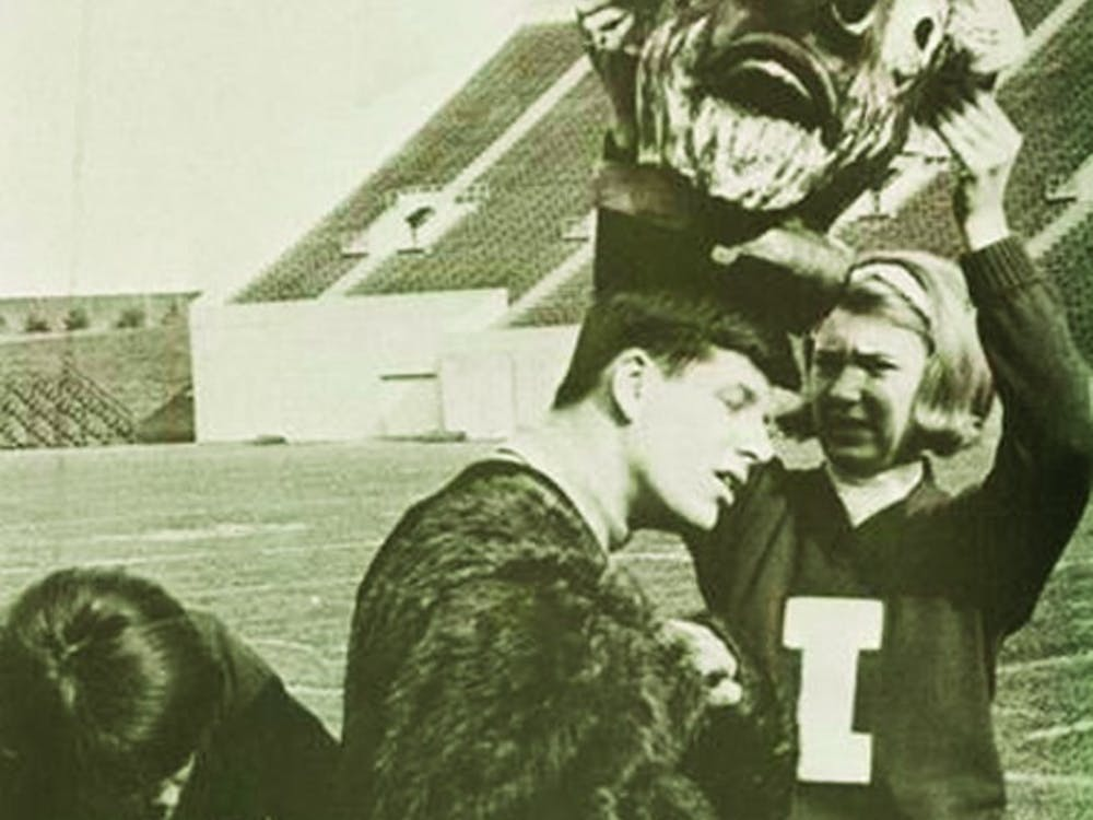 """From the 1966 Arbutus yearbook:""""To end the football season, I.U.'s new mascot, the Bison, carried Jawn Purdue off to a fiery death at the Purdue Pep Rally 'Protest'."""""""