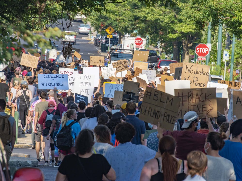 Protesters march July 7, 2020, through Bloomington in support of Black Lives Matter. IU's Office of the Vice President for Diversity, Equity and Multicultural Affairs will be sponsoring events throughout the day for Martin Luther King Jr. Day.
