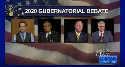 A screenshot from the Indiana gubernatorial debate Tuesday online.