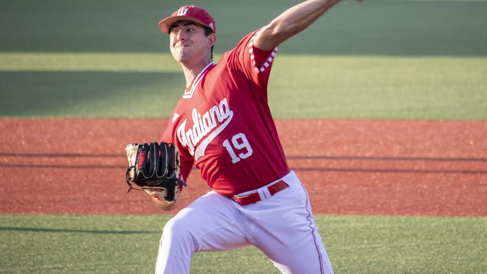 Then-sophomore left-handed pitcher Tommy Sommer pitches the ball against the University of Louisville on May 14, 2019, at Bart Kaufman Field. Sommer pitched 6.1 innings and improved to 4-1 on the season Friday in the first game of the Hoosiers' weekend series.