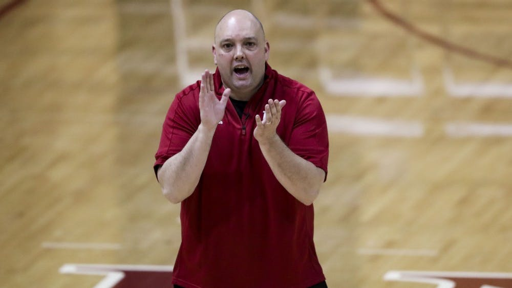 IU volleyball Coach Steve Aird encourages his team during fall camp in August 2018. The team's annual Cream and Crimson Scrimmage will begin at 7 p.m. Aug. 24 at Wilkinson Hall.