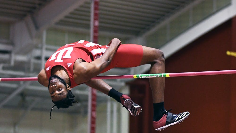Freshman Jyles Etienne competes in the high jump in the Hoosier Open in Harry Gladstein Fieldhouse. Etienne set a new meet record with a jump of 2.21m and was named one of IU's three Big Ten Athlete's of the Week.