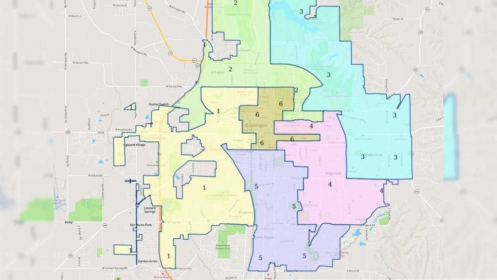 A screenshot from the City of Bloomington's website shows the city's district lines. The Bloomington City Council is searching for people to be included on a citizens advisory board for redistricting.