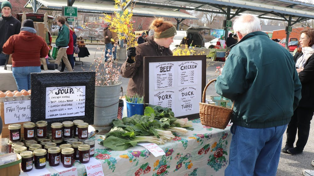 The Partland Family Farm sells an abundance of items such as flowers, eggs and vegetables in 2018 at the Bloomington Farmers' Market. Bloomington residents have many opportunities to get involved in local agriculture.