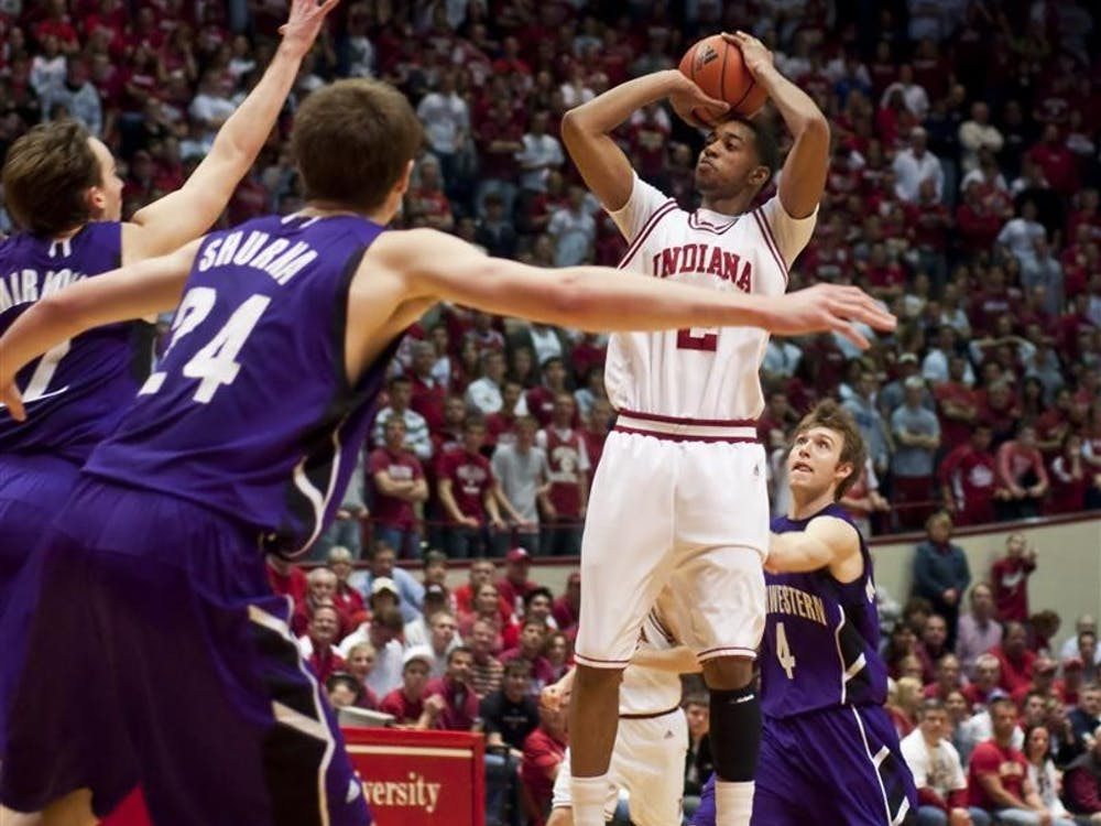 Freshman forward Christian Watford takes a shot during IU's 88-80 win against Northwestern March 6 at Assembly Hall.
