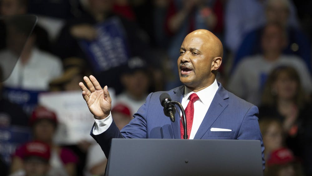 Indiana Attorney General Curtis Hill talks to the crowd during the Donald Trump rally May 10, 2018, in Elkhart, Indiana.