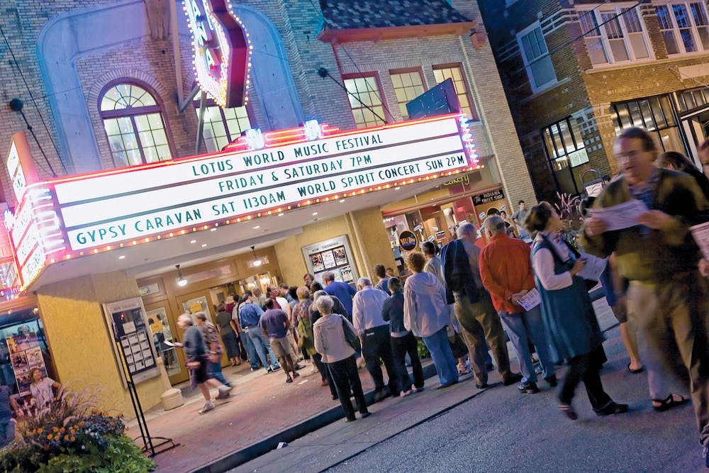 <p>Patrons wait to hear the Anat Cohen Quartet Sept. 30, 2012, at the Buskirk-Chumley Theater during the Lotus World Music and Arts festival. The 28th annual Lotus Festival will be held from Sept. 23 to Sept. 26, 2021.</p>