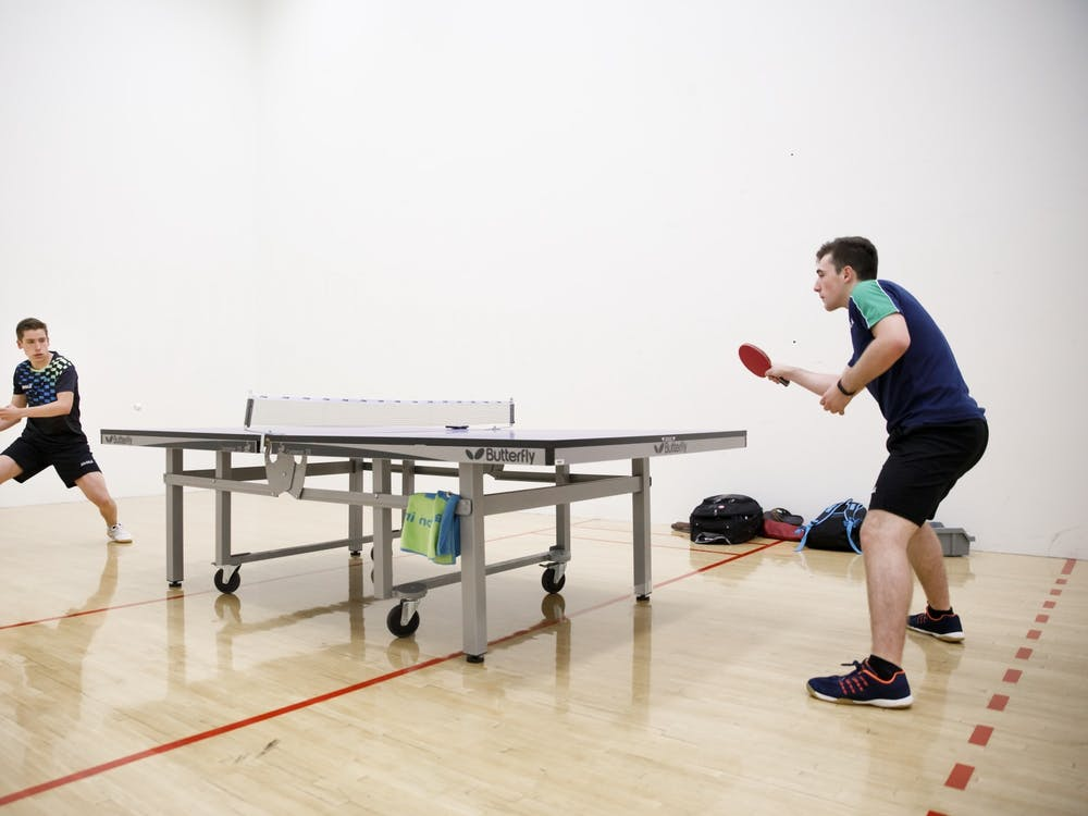 Freshmen Sharon and Gal Alguetti practice table tennis Aug. 8 at the Student Recreational Sports Center. The brothers did not qualify for the 2020 Olympics this weekend in Santa Monica, California .