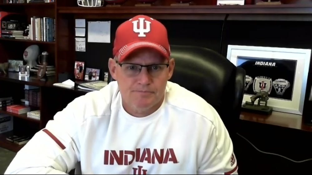 """IU head football coach Tom Allen speaks at a virtual press conference Aug. 20on Zoom. Allen said his main focus this semester will be that individuals """"sharpen their axe"""" — a metaphor for their minds and bodies — in preparation for the team's next opportunity to play."""