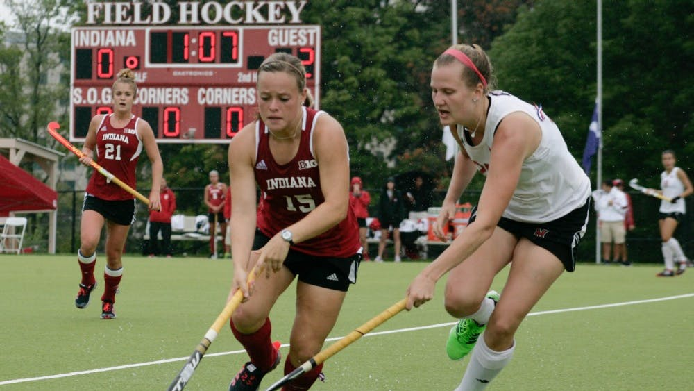 Then-junior Kate Barber battles for the ball against a Miami of Ohio University player in a loss to the Redhawks in 2015.Barber scored two goals this weekend in the Buckeye Invitational in Columbus, Ohio.