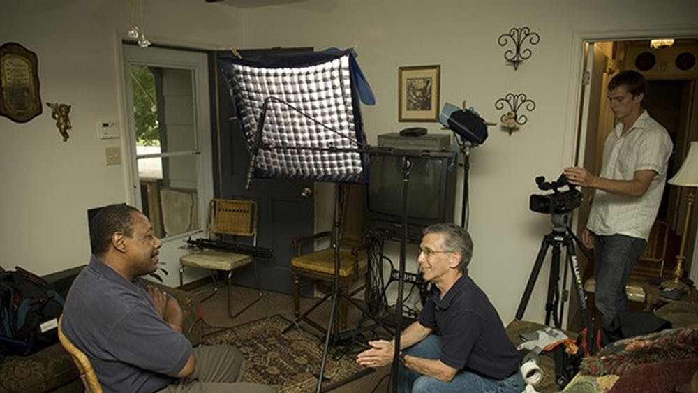"""IU Professor emeritus Ron Osgood interviews war veteran Arthur Barham for his documentary, """"Just Like Me: Vietnam War Stories from All Sides."""" After finishing the documentary in 2017, he is now showing screenings of the documentary to university students across the country."""
